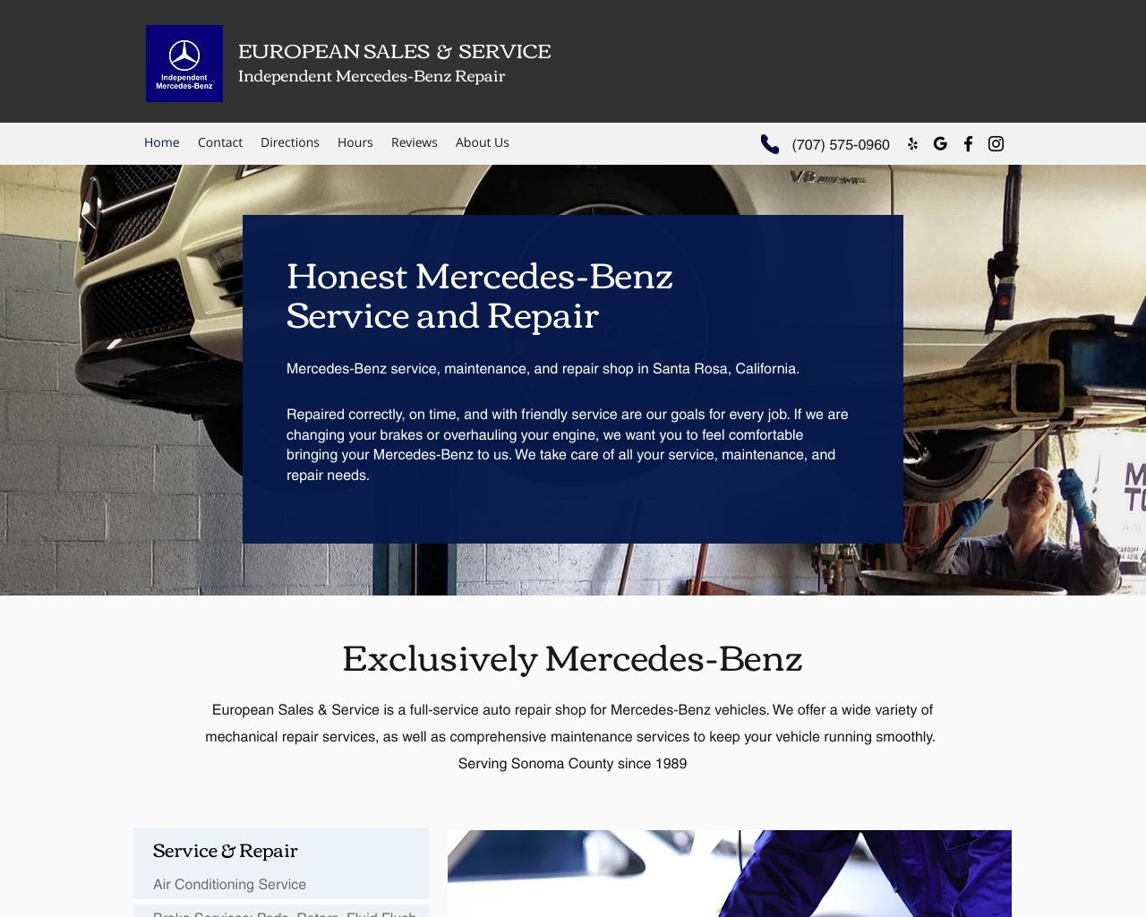 European sales service mercedes benz repair diamond for Mercedes benz repair santa rosa