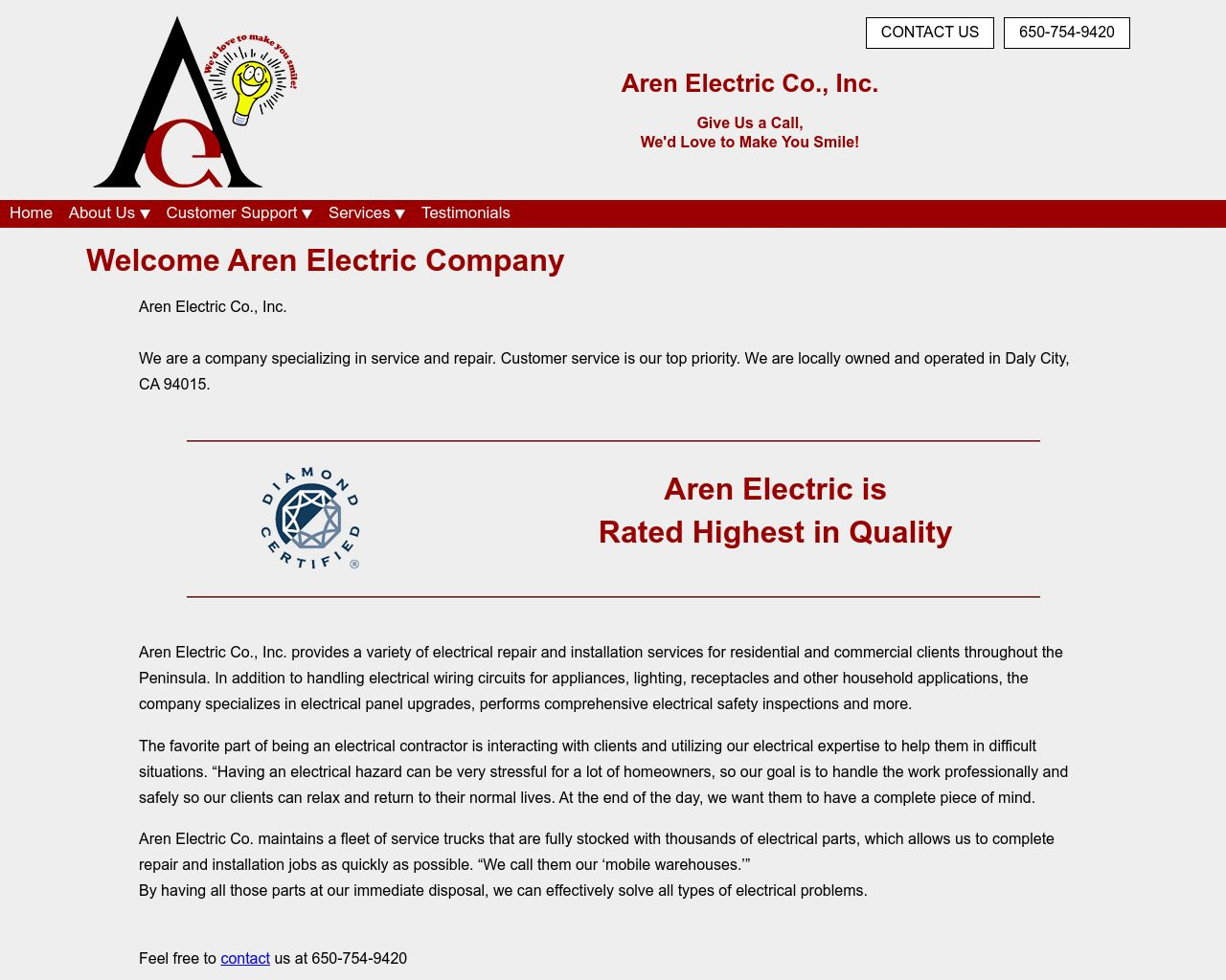 Aren Electric Co Inc Electrical Repair Installation Diamond Circuits Website Company