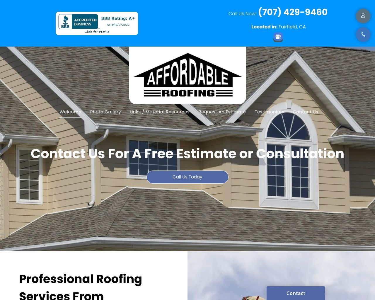 Affordable Roofing Diamond Certified Solano County Roofer